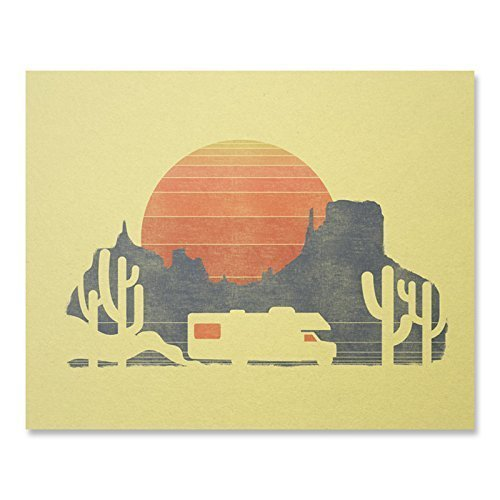 RV Travel Sunset Art Print Vintage Mountain Desert Cactus Road Trip Wall Poster Arizona Road Trip Home Decor 8 x 10 inches