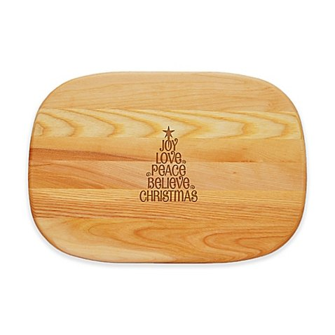 Carved Solutions Everyday Collection Joy-Love-Peace Tree 15-Inch x 10-Inch Cutting Board