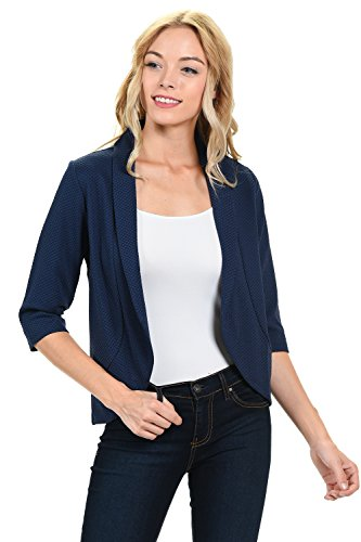 Women's Lightweight 3/4 Sleeve Stylish Flowy Casual Office Blazer Small Navy