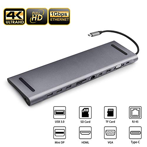 USB C Docking Station Laptop 11 in 1 Multi-Port USB C Hub Adapter with Charging Power, Audio, 4K HDMI, VGA,Gigabit Ethernet,Micro/SD Card Reader for Chromebook, MacBook Pro 2018, 2017, 2016