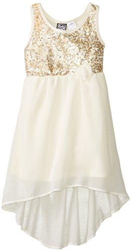 Pogo Club Little Girls Lizzie Sequin Dress  Natural  4