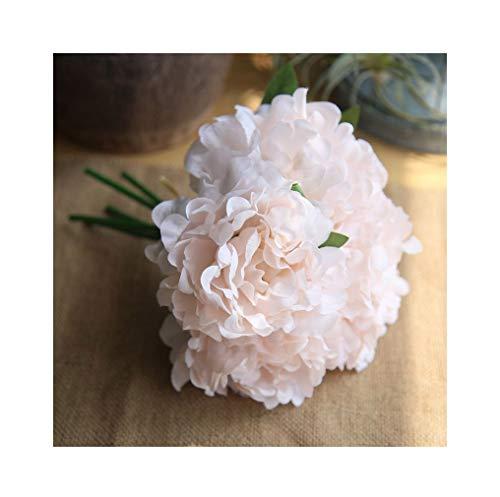 "Artfen 5 Heads Artificial Peony Silk Flower Fake Hydrangea Flowers Home Bridal Wedding Party Festival Bar Decor Approx 7.5"" in Diameter Light Pink"