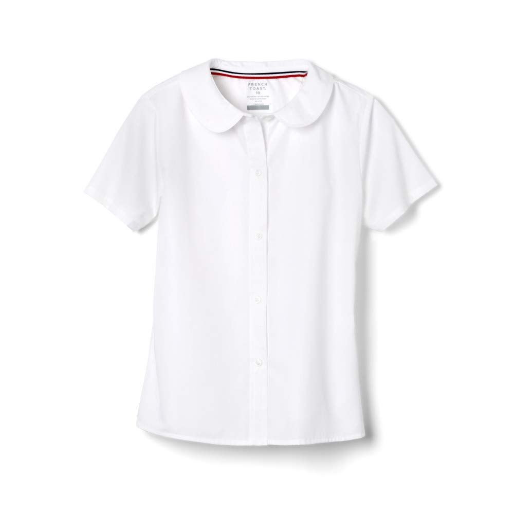 French Toast Big Girls' Short Sleeve Peter Pan Collar Blouse, White, 20 by French Toast