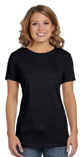 Womens Fitted Baby Rib Tee - Bella Women's 1x1 Baby Rib Cap-Sleeve T-Shirt B1001, X-Large, Black