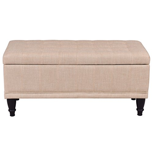"Giantex 42"" Fabric Tufted Storage Ottoman Bench Lift Top Storage Bench With Solid Wood Legs (Beige) by Giantex (Image #4)"