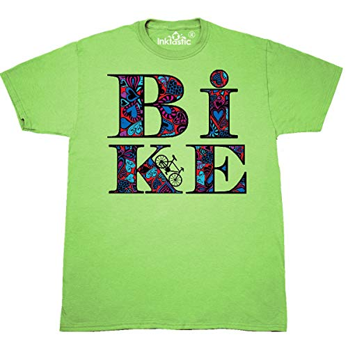 (inktastic - Heart Filled Bike T-Shirt Small Key Lime 31431 )