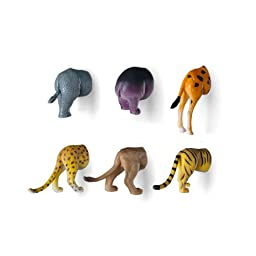 Kikkerland Safari Animal Butt Magnets, Set of 6 (MG23)