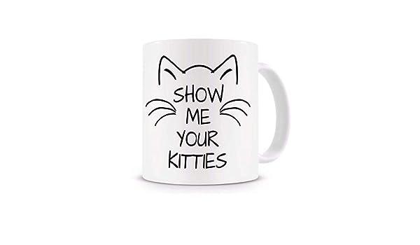 N\A Muéstrame tu Taza de Gatitos, Taza de café Divertida, Taza Loca de la señora del Gato, Taza de la Taza del Gato con la Cuchara del revolvimiento Amante del Gato: Amazon.es:
