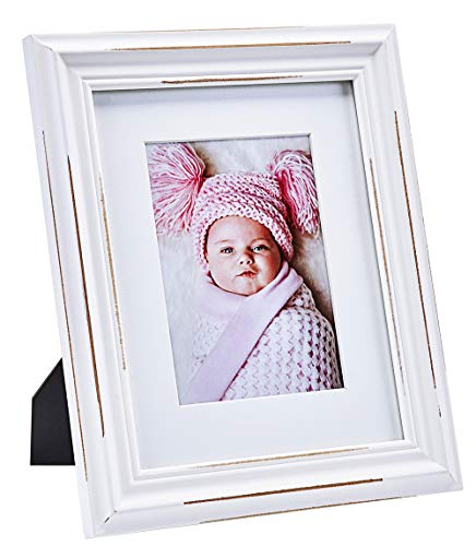 YoMee Art-Deco 8x10 White Heavy Wood Picture Frame with Glass Front - Display Photo 5x7 with Mat or 8 by 10 Without Mat - Table Desk Top Standing or Wall Hanging