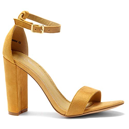 (Herstyle Rosemmina Womens Open Toe Ankle Strap Chunky Block High Heel Dress Party Pump Sandals. Mustard 5.0)