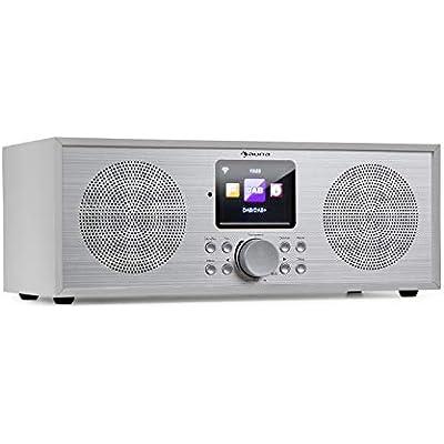 AUNA Silver Star Stereo Internet DAB Radio Internet Radio with WLAN  Kitchen Radio  Bluetooth  Watts RMS  USB  App Control  AUX  Wake Function  incl  Remote Control  White