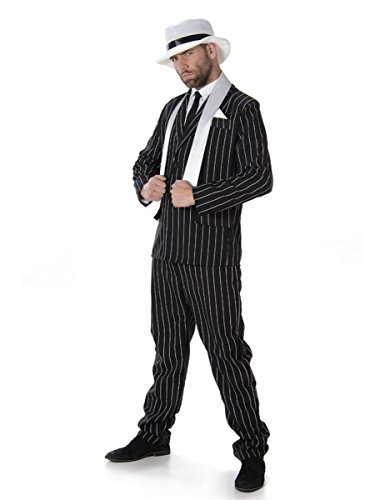 [Gangster Boss Mens Fancy Dress 20s Mafia Pinstripe Suit Adults 1920s Costume New (Medium 38 -40 Chest) by] (20s Gangster Adult Costumes)