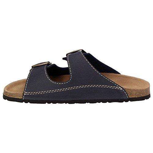 Blu cinghie pelle Scarpe plantare da uomo Marino pantofole 2 Blu vera sandali Softwaves TvzYqUpz