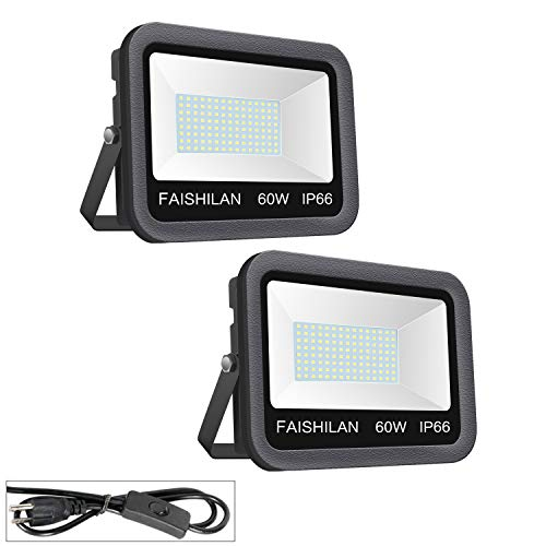 FAISHILAN 2 Pack 60W LED Flood Light Outdoor IP66 Waterproof with US-3 Plug & Switch 5000Lm for Garage, Garden, Yard