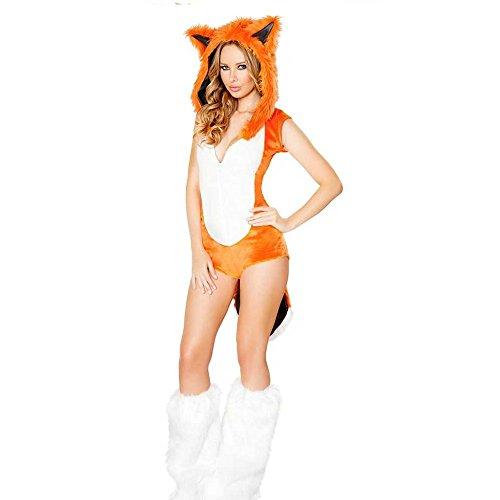 Halloween mit Orange Abendkleid Furry Ausschnitt Fuchs Abendkleid tiefem V Kostüm q8FOS7qH