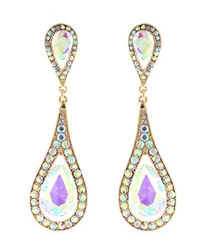 (Aurora Borealis Teardrop Stone Slim Design Gold-Tone Dangling Earrings)