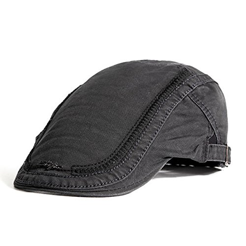 Outdoor Cap Cotton Visor (HSRT Mens Cotton Embroidery Painter Berets Caps Casual Outdoor Visor Forward Hat Gray)