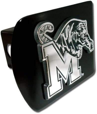 University of Memphis Tigers Black with Chrome M-Tiger Emblem NCAA College Sports Metal Trailer Metal Hitch Cover Fits 2 Inch Auto Car Truck Receiver