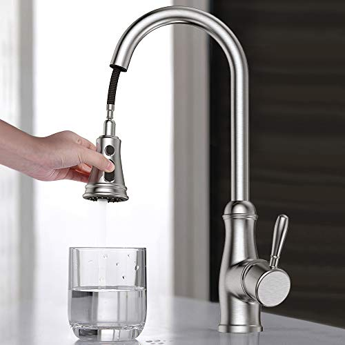 Single Handle Kitchen Sink Faucet, Guukar Single Lever High Arc Stainless Steel Kitchen Faucets with Pull Down Sprayer, Brushed Nickel  by Guukar (Image #2)