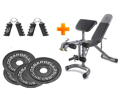 (Golds Gym* XRS 20 Olympic Workout Bench + 2-Inch Olympic Plate(Set of 4) with Hand Grip - Bundle Set)