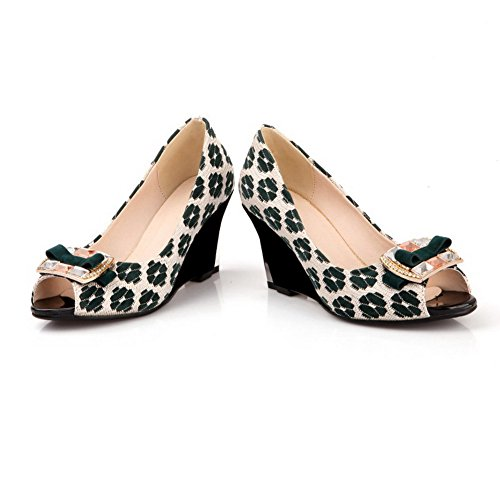 AgooLar Women's Imitated Suede Assorted Color Pull On Peep Toe High Heels Sandals Green pnu00ote