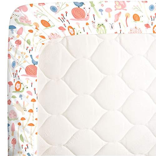 NoJo Spring Garden Pink, Green, Orange & Ivory Fitted Super Soft Crib Sheet, Pink, Green, Orange, Ivory