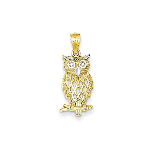 14k Yellow Gold & Rhodium Plated Owl Pendant 14k Yellow Gold Rhodium Plated