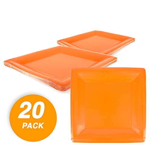 SparkSettings Frosty Paper Plates Cut Proof Heavy Duty Compostable Square Party Plates Disposable Paper Plastic Plates for All Occasions 20 Count Dessert Salad Plates Orange Peel (Solid Color Plates Tableware)