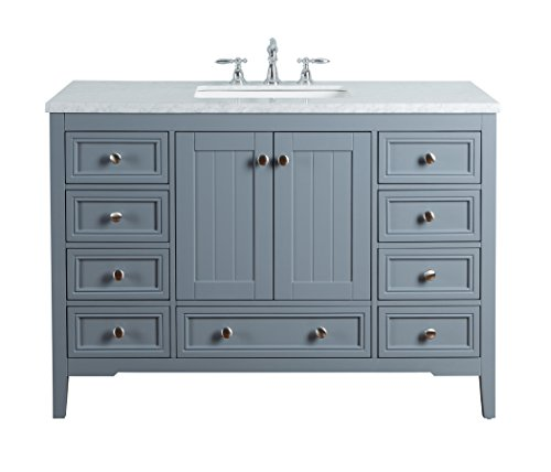 Stufurhome HD-1616G CR New Yorker 48 Inches Single Sink Bathroom Vanity, Grey