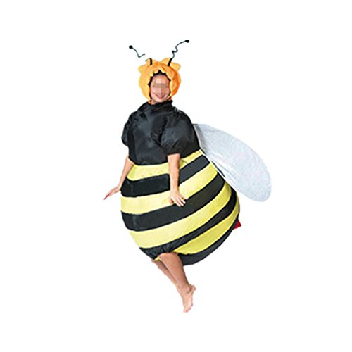 Inflatable Costume Bee Halloween Fancy Dress Cosplay Animals Blow up Jumpsuit for Adult (Bee)