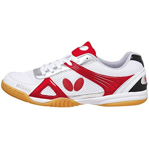 Butterfly Trynex Table Tennis Shoes – Stylish Shoes for Ping Pong – Sizes 4.5-10 – White/Blue or White/Red Shoes – Men or Women Sneakers B01CNPQ7WY Size 5.5|Red