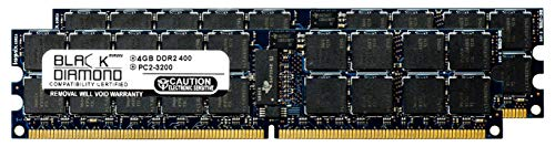 8GB 2X4GB Memory RAM for SuperMicro 2000 Series 2021M-T2R+V, 2021M-32RV, 2021M-UR+B, 2021M-UR+V, 2041M-T2R+B Black Diamond Memory Module 240pin PC2-3200 400MHz DDR2 ECC Registered RDIMM Upgrade ()