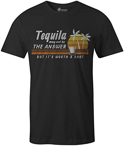 ce4e29f74 9 Crowns Tees Men's It's Worth A Shot Funny T-Shirt-Tequila Shot-