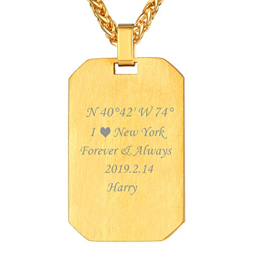 - U7 Personalized ID Tags Necklace for Men Women 18K Gold Plated Wire Drawing Octagon Dog Tags Pendant Customized, Chain 22