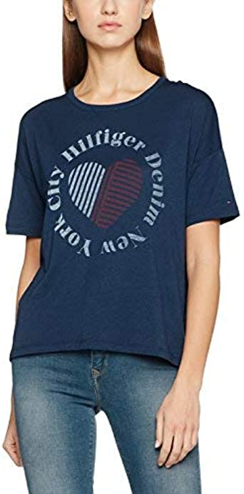Tommy Jeans Mujer BASIC CN T-SHIRT S/S 17 Camiseta Manga Corta Azul (Dress Blues) X-Small: Amazon.es: Ropa y accesorios