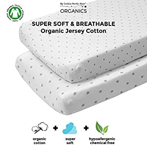 Organic Changing Pad Cover Set – 100% Organic Jersey Cotton – 2 Pack Unisex Design Gray and White – Best Baby Shower Gift Perfect for Bassinet Sheets for Boy or Girl 16X32 – Stars and Dots