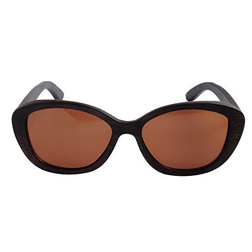 Gu Pesca Madera Retro polarizada Sol Gafas UV Lente Playa a de de los Protección de Hechos Mano conducción TAC Hombres de Sol Gafas Ojos de Gato de Marrón de Marco Libre Aire Peggy de al Fdw06qF