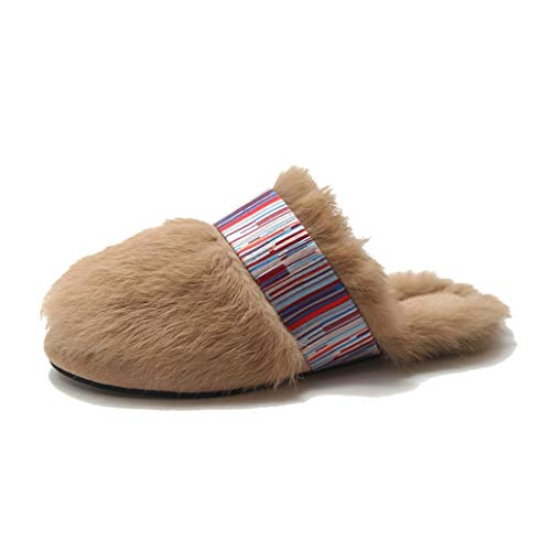 York Zhu Women Plush Slippers Winter Indoor Fur Warm Soft Slippers House Shoes Anti Slip