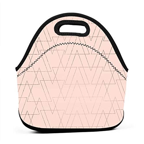 (Pattonef Rose Gold Geometric Thin Triangles Personalized Neoprene Bento Bag Waterproof Men and Women for Working Picnic Trip)