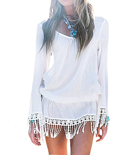 Bestyou® Women's Fashion Beachwear Keyhole Fringe Cover up Dress Tunic (White)