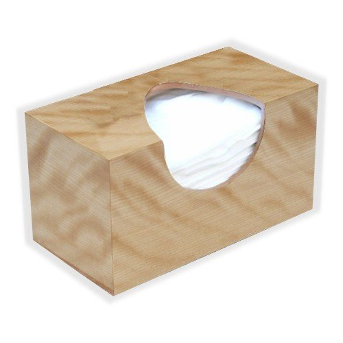 [Wooden Tissue Box Cover In Figured Birch Veneer Rectangular Family Size. (Puffs Opening With] (Mounted Animal Head Costume)