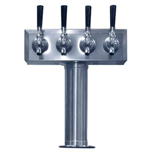 Faucet Tower - Bev Rite CTT4-186 4 Product Draft Beer Kegerator T Tower, Stainless Steel Body, 4 Faucets,