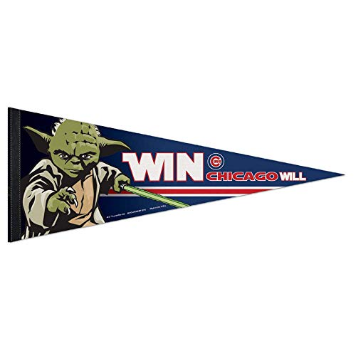 Bek Brands Baseball Teams Special Collector's Flag Banner Pennant with Yoda, Chewbacca, Darth Vader, 12 x 30 in (Chicago Cubs, Yoda) ()