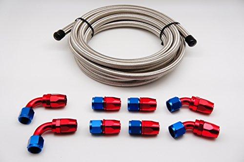 Autobahn88 DIY Stainless Steel Braided Hose Combo Set, Includes: -12AN SS Braided Hose x10 Feet (3m) + Hose End -12AN (Straight x4 + 45deg x2 + 90deg -4AN x2) by autobahn88