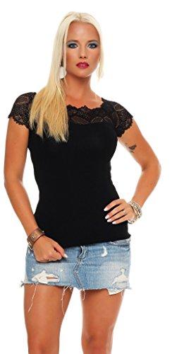 Mississhop Damen Spitzenshirt Spitze Spitzen T-Shirt Bluse Shirt Langarmshirt Kurzarmshirt Schwarz/Kurzarm