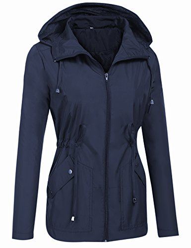 para Abrigo Resistente Ligera Capucha Azul Chaqueta Mujer Lomon Gabardina de con Impermeable Lluvia Viento al H8EAwxnB