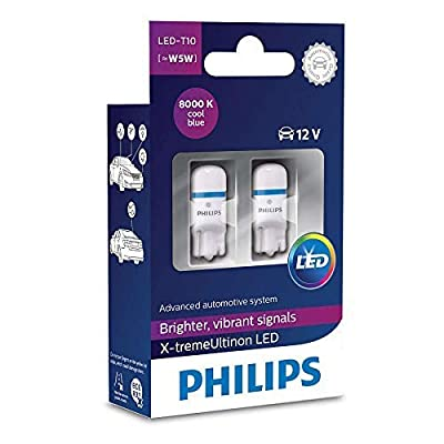 Pack of 2 Xtreme Vision 360 X treme Ultinon Philips W5W T10 194 168 LED Bulbs (8000K) more light than conventional Interior Lighting, Provides Huge Lifetime: Automotive