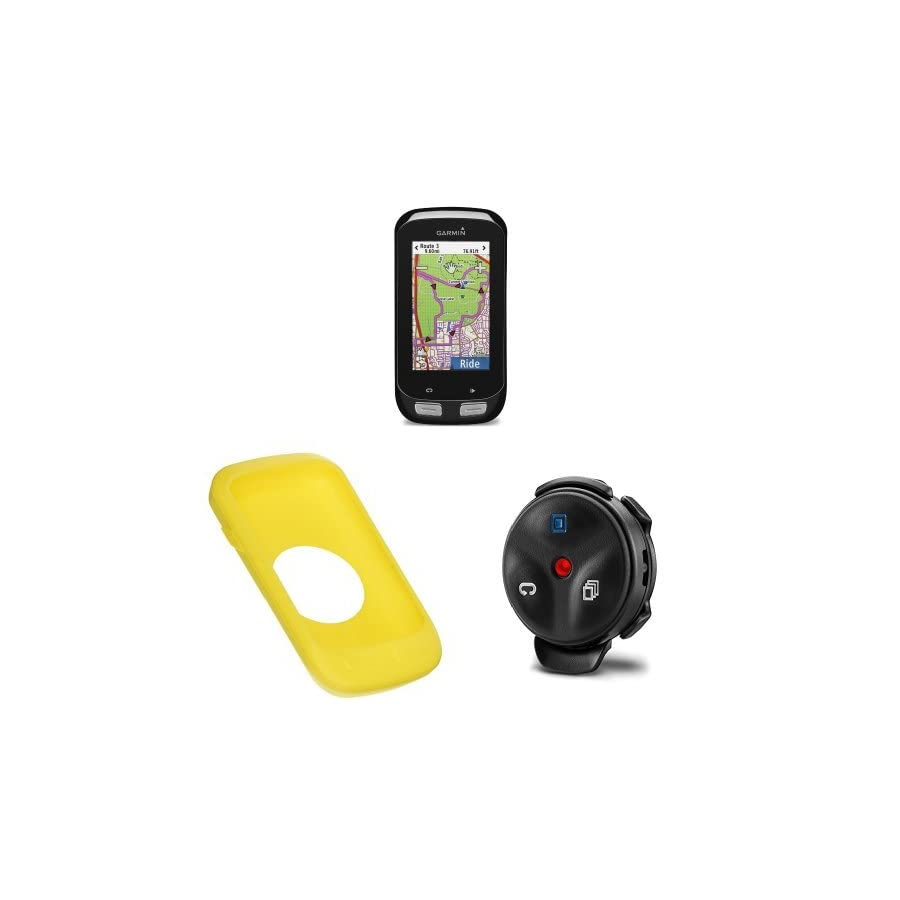 Garmin Edge 1000 Color Touchscreen GPS with Silocone Case for Edge 1000, Yellow and Edge Remote