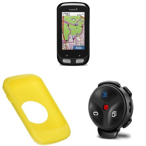 Garmin Edge 1000 Color Touchscreen GPS with Silocone Case for Edge 1000, Yellow and Edge Remote by