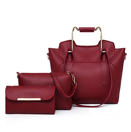 Di Grande Madreperla Pu Tracolla Moda Red Capacità In Lxyiun Dell'hardware Borsa borsa Pelle A Della gray Portafoglio nwIxOqxYv
